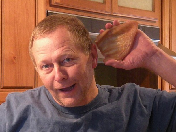 Dad, with the pig ear's he brought for the holiday feast