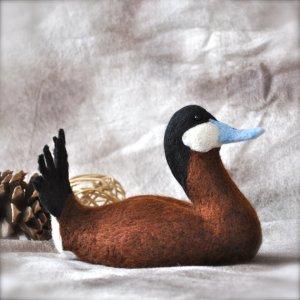 Needle felted wool Ruddy Duck by Bear Creek Designs.