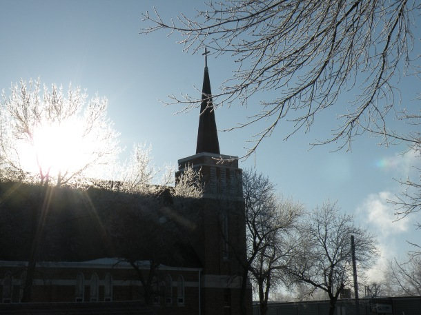 Sunrise over the First Lutheran Church of New Rockford
