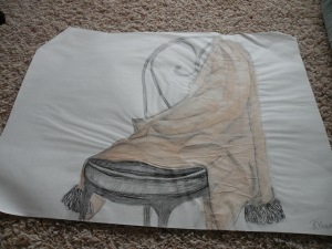 Coat on Chair. Still life. Pencil and watercolor. RP 2001-2002.