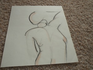 Figure drawing. Pencil, watercolor, and charcoal. RP 2001-2002.