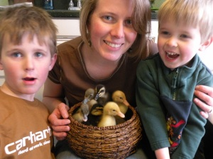 Me and my boys with our new baby ducklings.